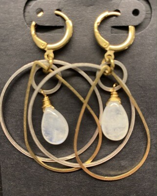 Mixed metal dangle earrings with Rainbow Moonstone