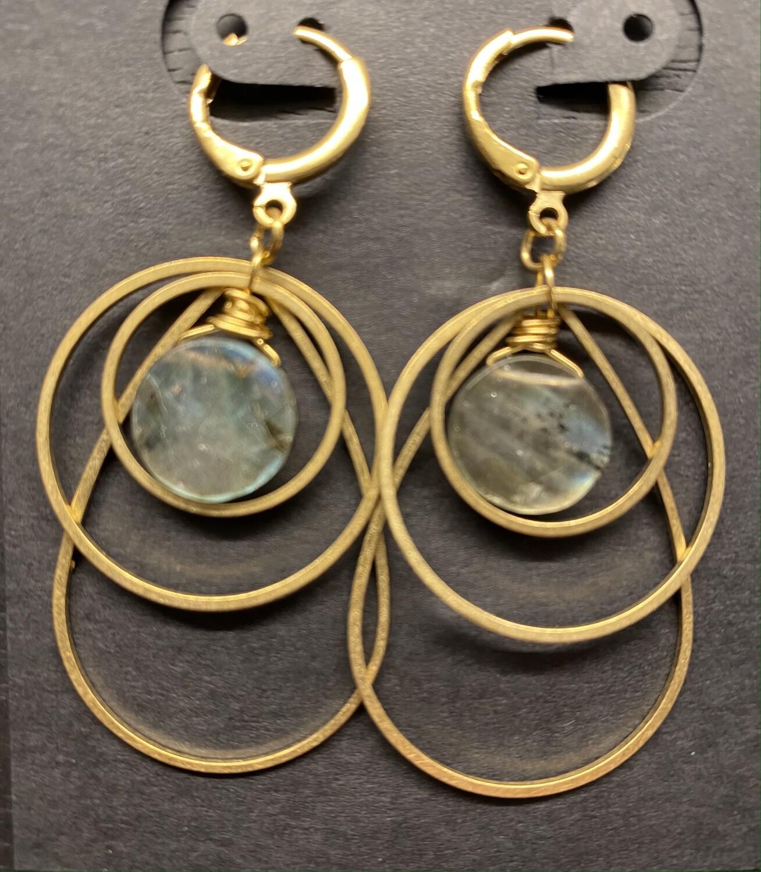 Brass and Labradorite Teardrop Ripple Earrings