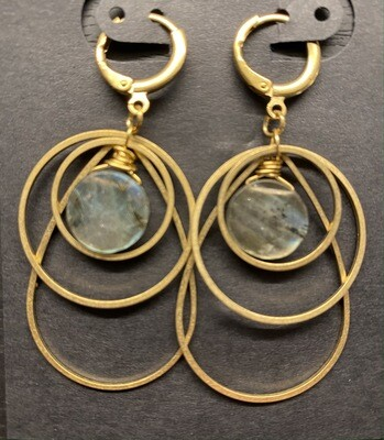 Brass and Labradorite Teardrop Ripple Earrings