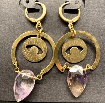 Brass Evil Eye Dangles with Ametrine
