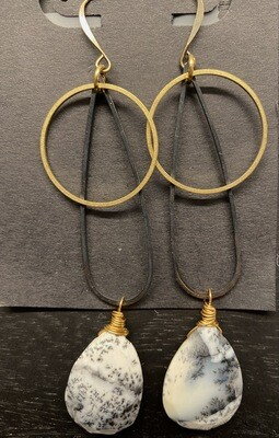 Black Brass and Dendritic Opal Earrings