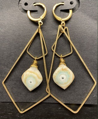 Brass Kite Dangles with Solar Quartz