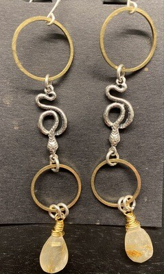 Mixed Metal Snake Dangles with Rutilated Quartz