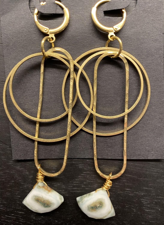 Hammered Brass and Solar Quartz Dangle Earrings