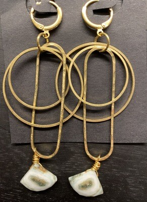 Hammered Brass and Solar Quartz Dangle Earrings