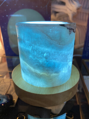 Blue Aragonite Lamp with Wooden LED USB Light base
