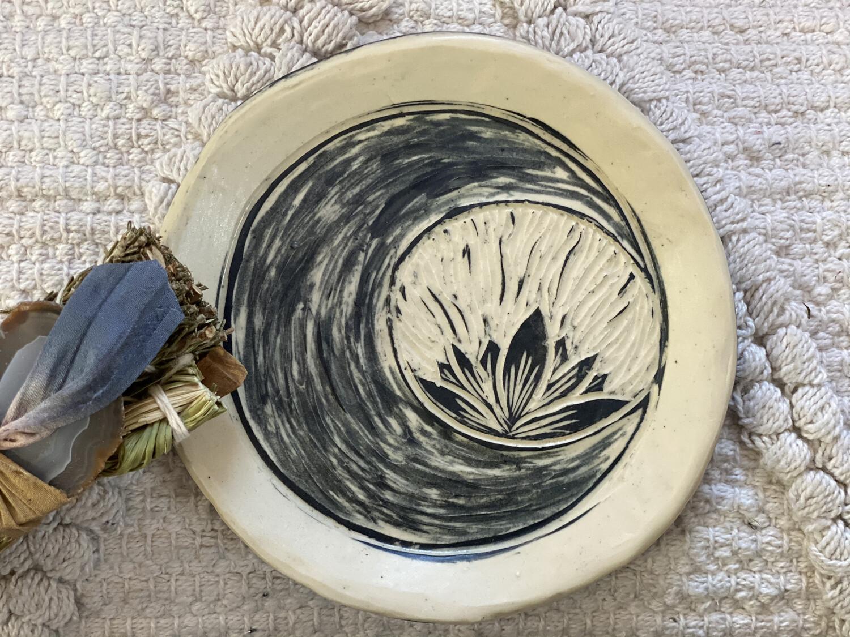 Crescent Crystal Moon Round Smudge Dish - Dry Creek Studio