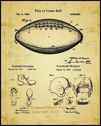 Game Ball & Football Uniform Patent Print - Framed