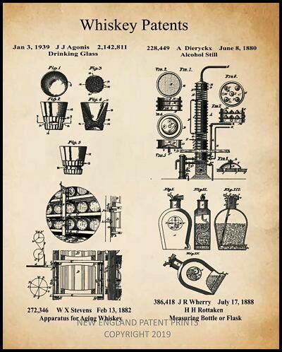 Whiskey Patent Print Framed