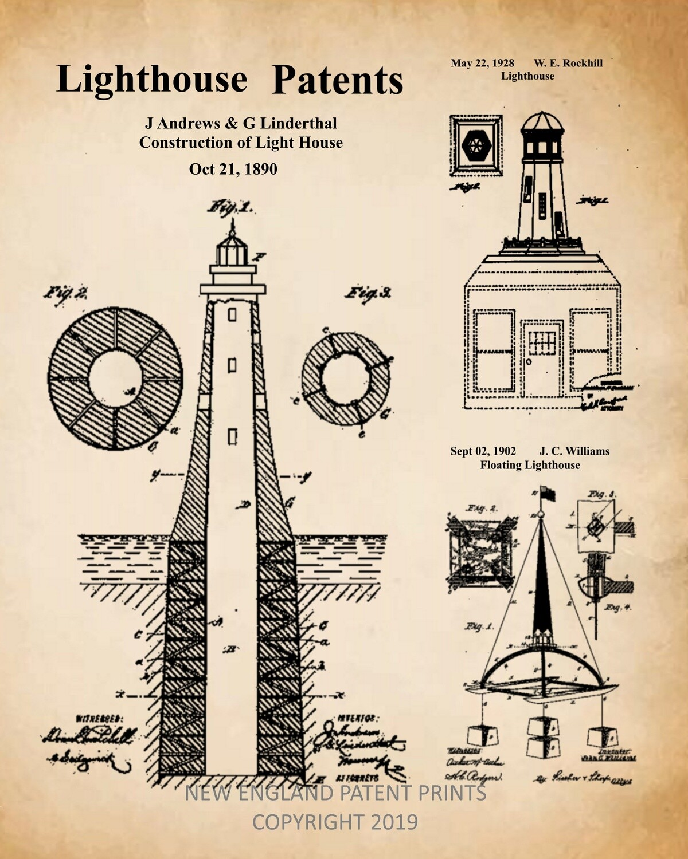 Lighthouse Patent Print Framed