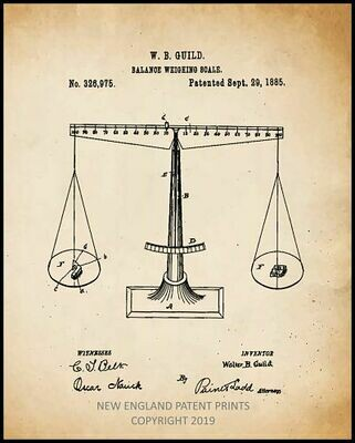 Scales of Justice Patent Print Framed