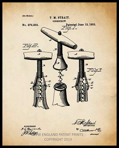 Wine Corkscrew Patent Collage - Sepia Framed