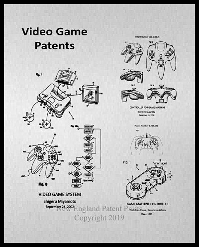Video Game Collage Patent Print - Gray Framed
