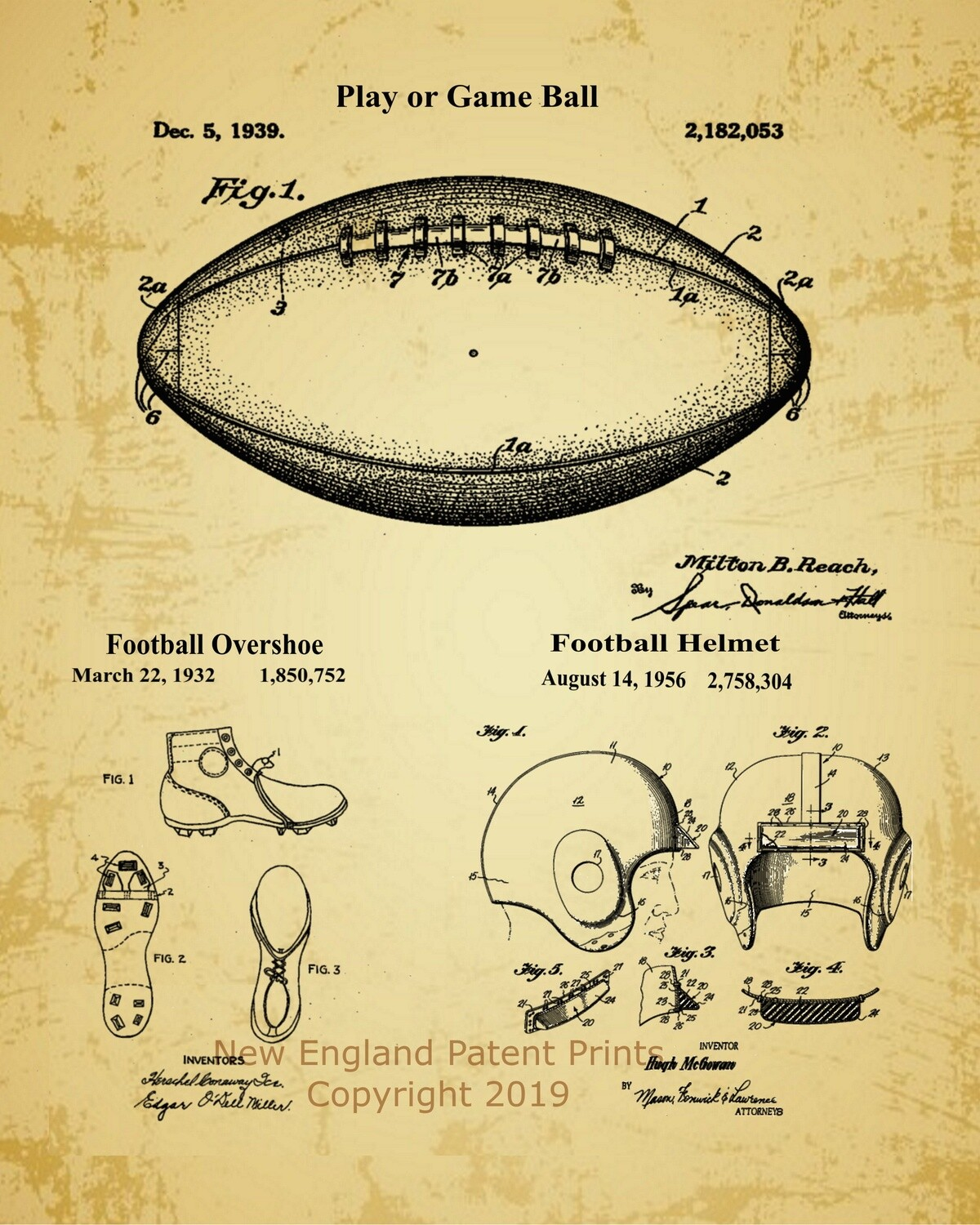 Football Collage Patent Print - Oldpaper Framed
