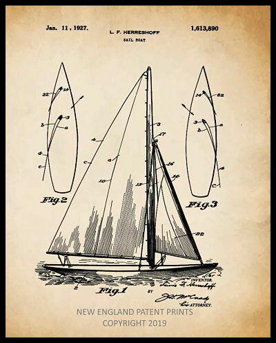 Sailboat Patent Print Framed - Sepia