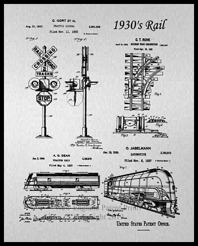 Bullet Train Collage Patent Print - Gray and Sepia Framed