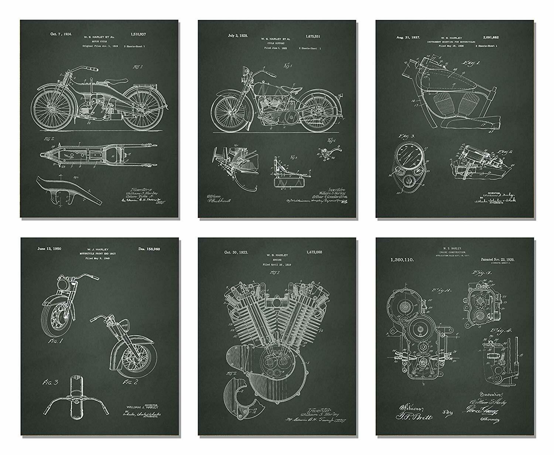 Black Harley Davidson Patent Prints - Six Prints