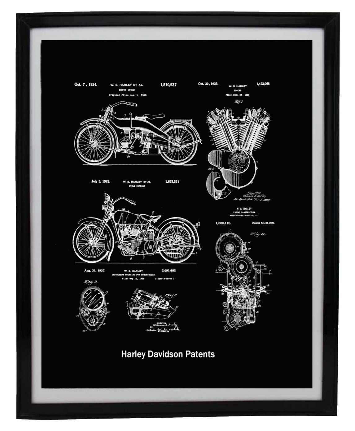 Harley Davidson Collage Patent Print - Black or Blueprint Framed