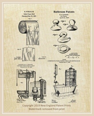 Bathroom Collage Patent Print - Linen Matted 8 1/2 x 11
