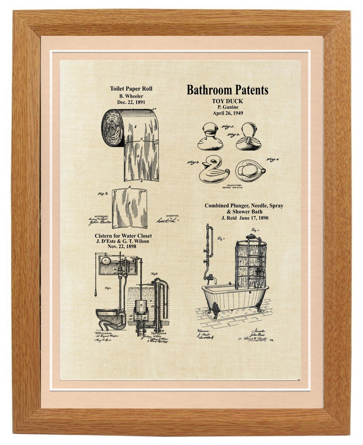Bathroom Vintage Patent Framed - Aged Linen Look