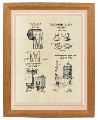 Bathroom Vintage Patent Framed - Aged Linen Look