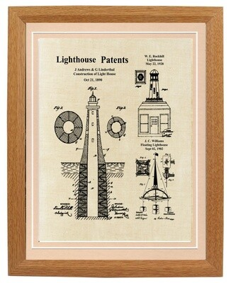 Lighthouse Patent Print Linen Looked Framed