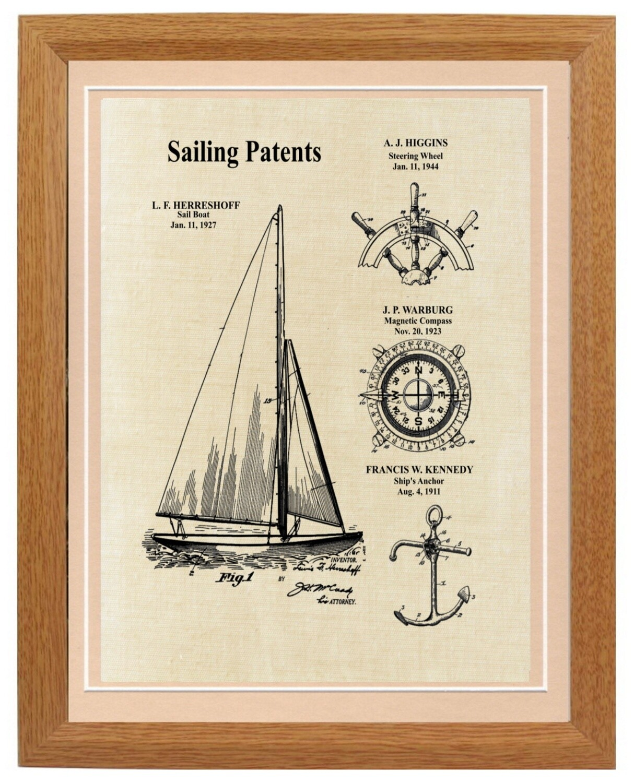 Sailboat Patent Print Framed - Linen Look Framed
