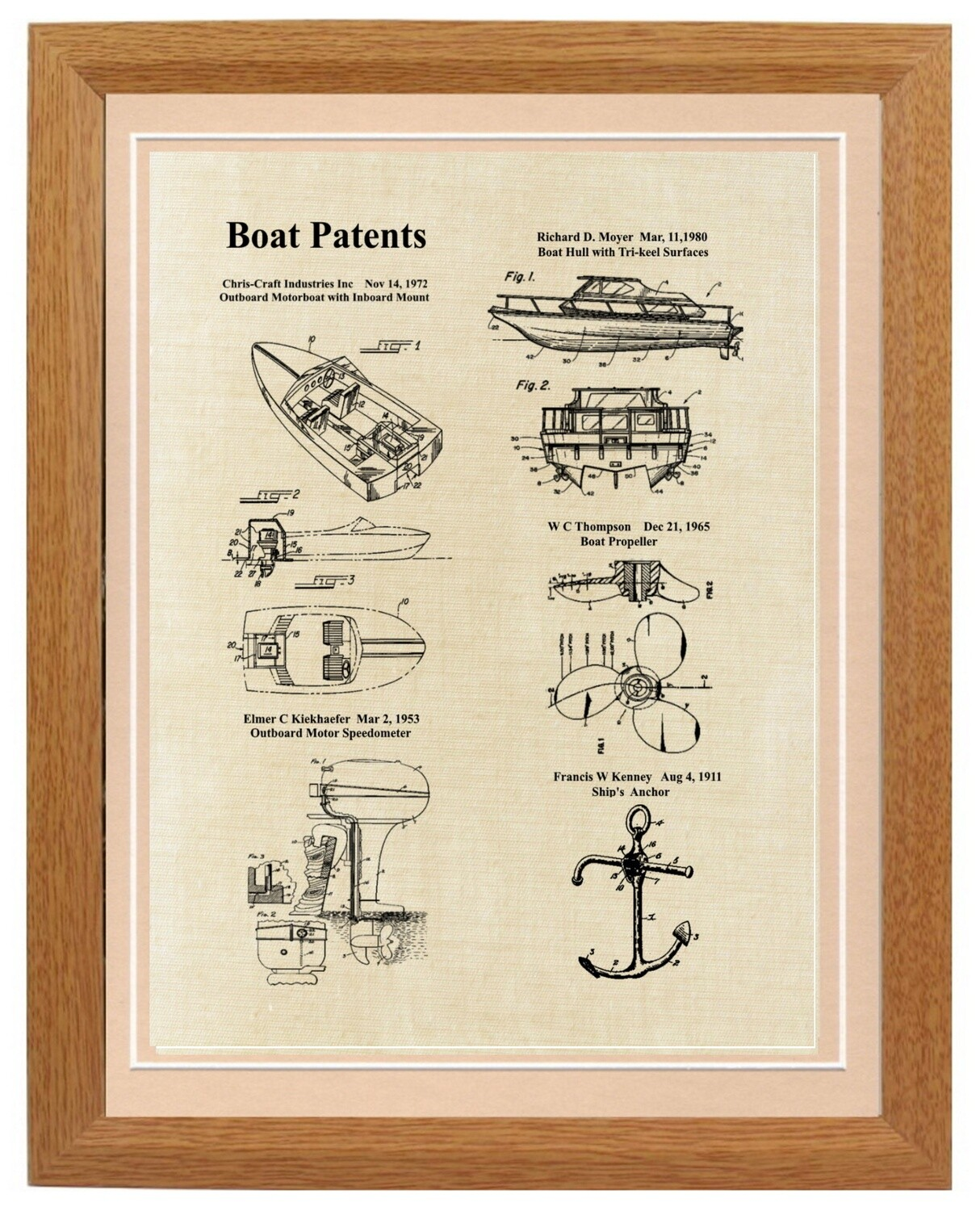 Power Boat Patent Print Framed - Linen Look Framed