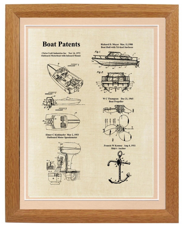 Power Boat Patent Print Framed - Linen Look Framed