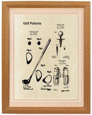Golf Collage  Patent Print - Framed