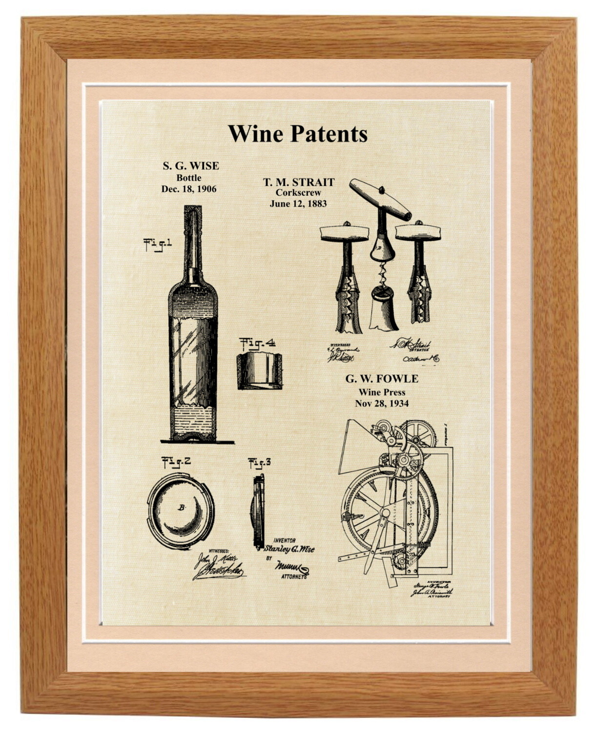 Wine Patent Print Framed