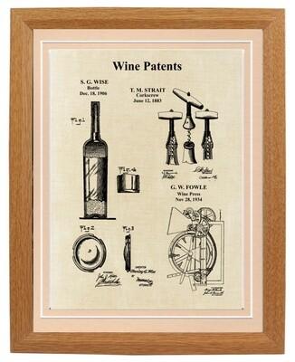 Wine Patent Print Framed