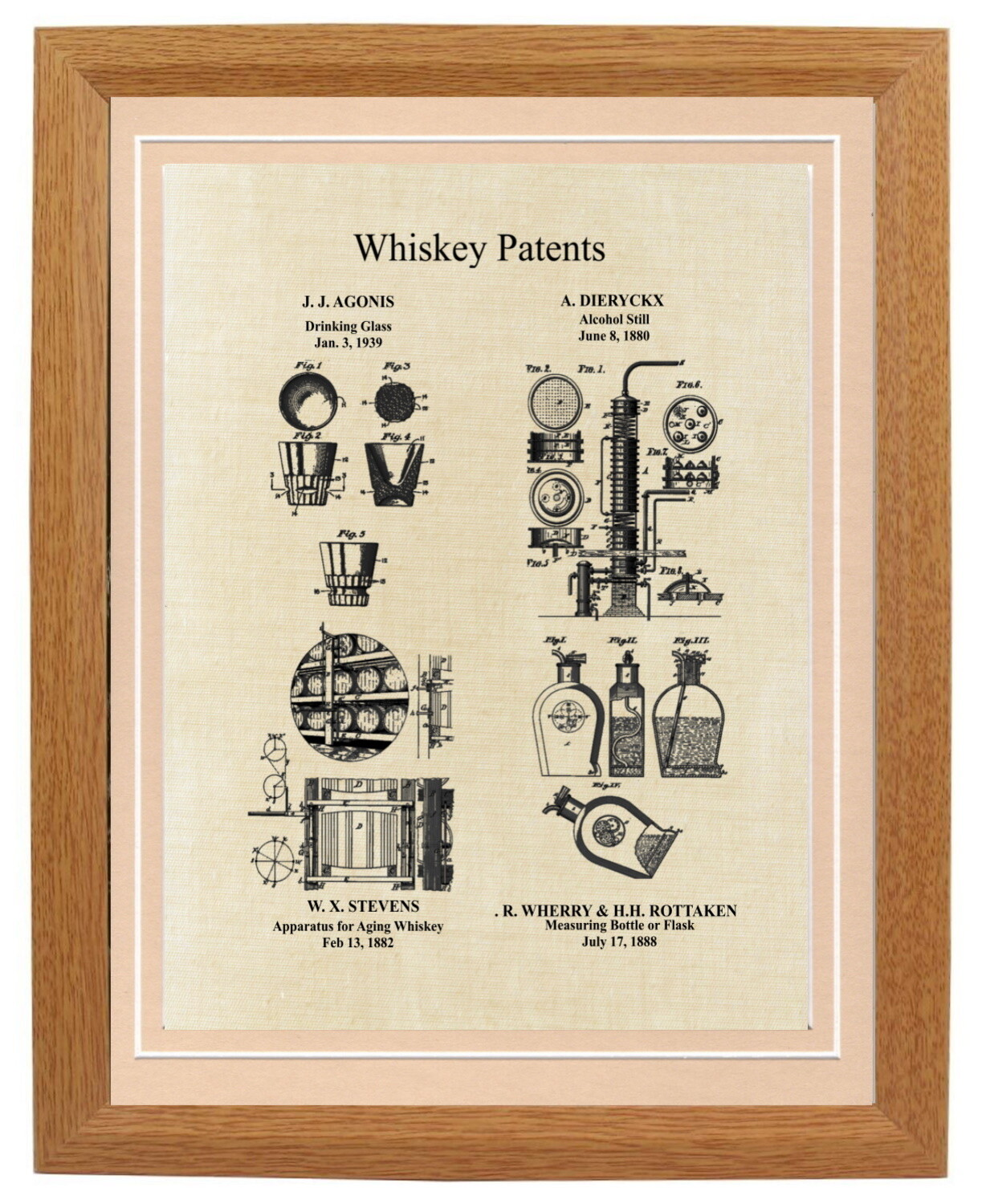 Whiskey Patent Print Framed