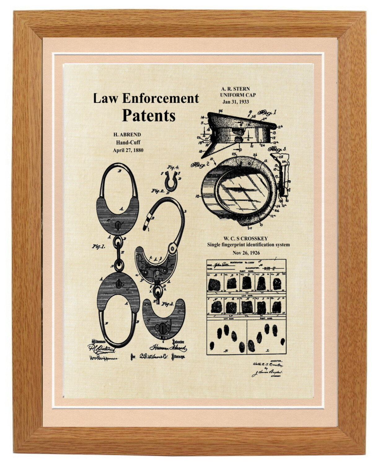 Police Law Enforcement Collage Patent Print Framed
