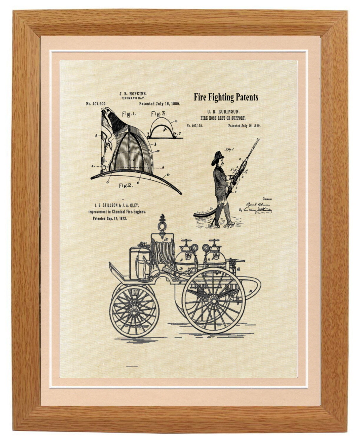Fire Department Collage Patent Print Framed