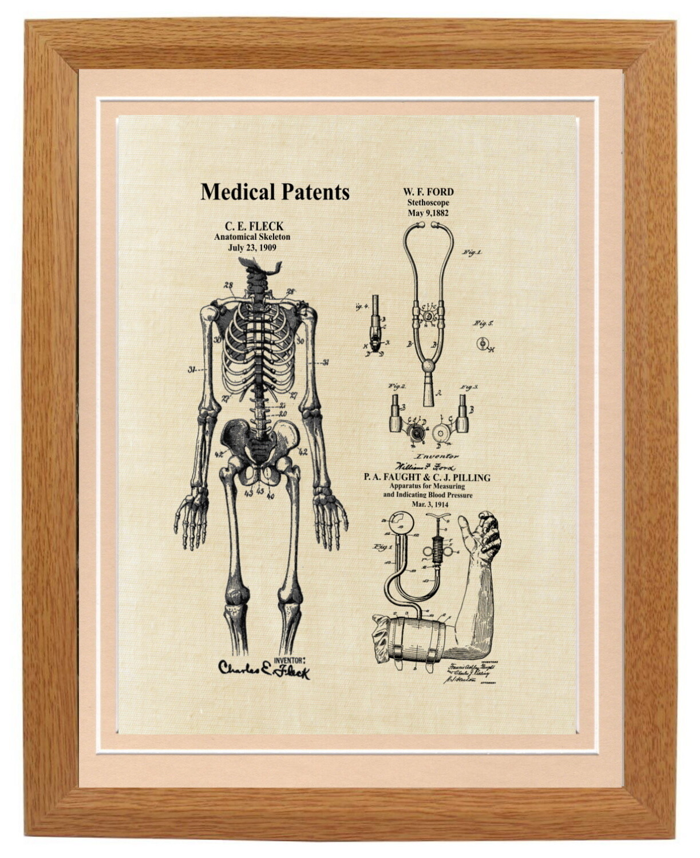 Medical Collage Patent Print Framed