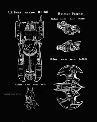 Batman Hood, Batmobile & Batplane- Framed