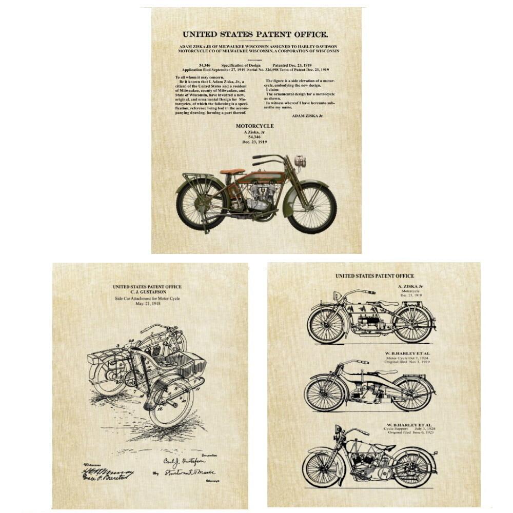 Vintage Harley Davidson Patent Prints - 3 Prints