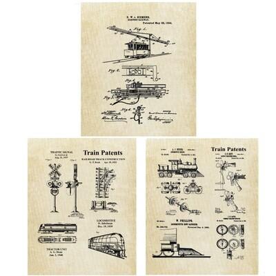 Vintage Railroad Collage Patent Prints -Three 8x10 Unframed Prints