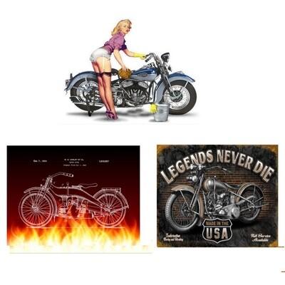 Harley Wall Art Pinup - Flames -  Legends Never Die - Unframed
