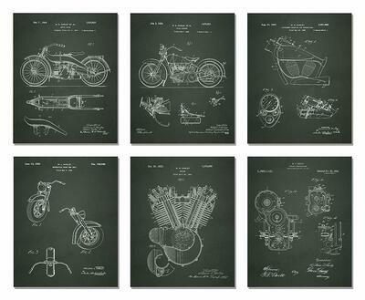 Harley Davidson Patent Prints - Black Blueprint or Parchment