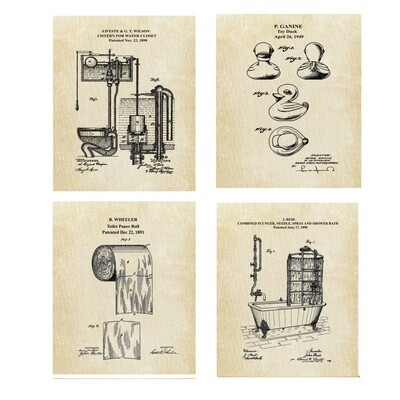 Bathroom Wall Decor Vintage Patent Prints - Toilet Paper Rubber Ducky Shower and Cistern