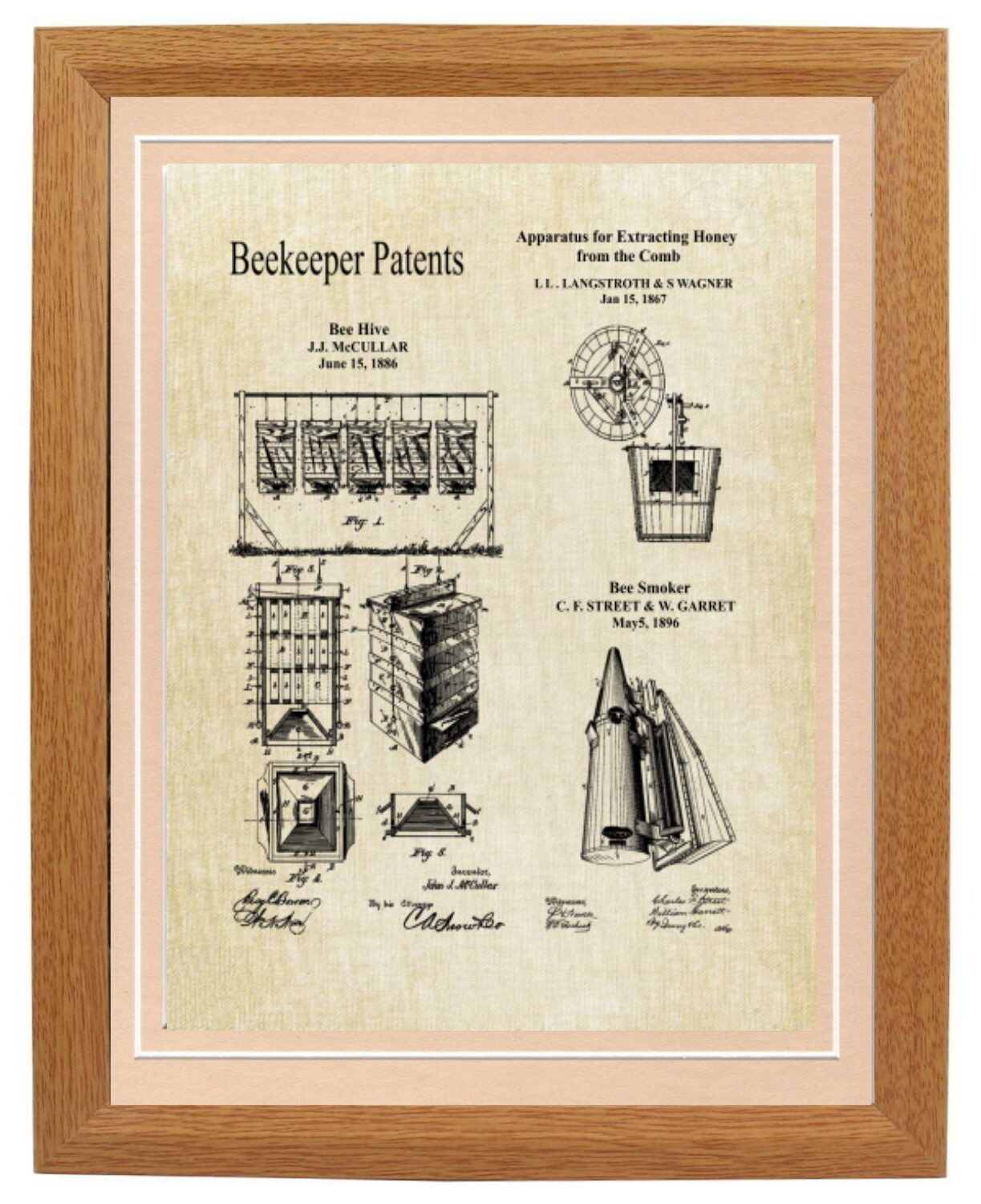 Beekeeper Collage Patent Print - Aged Linen Look Framed