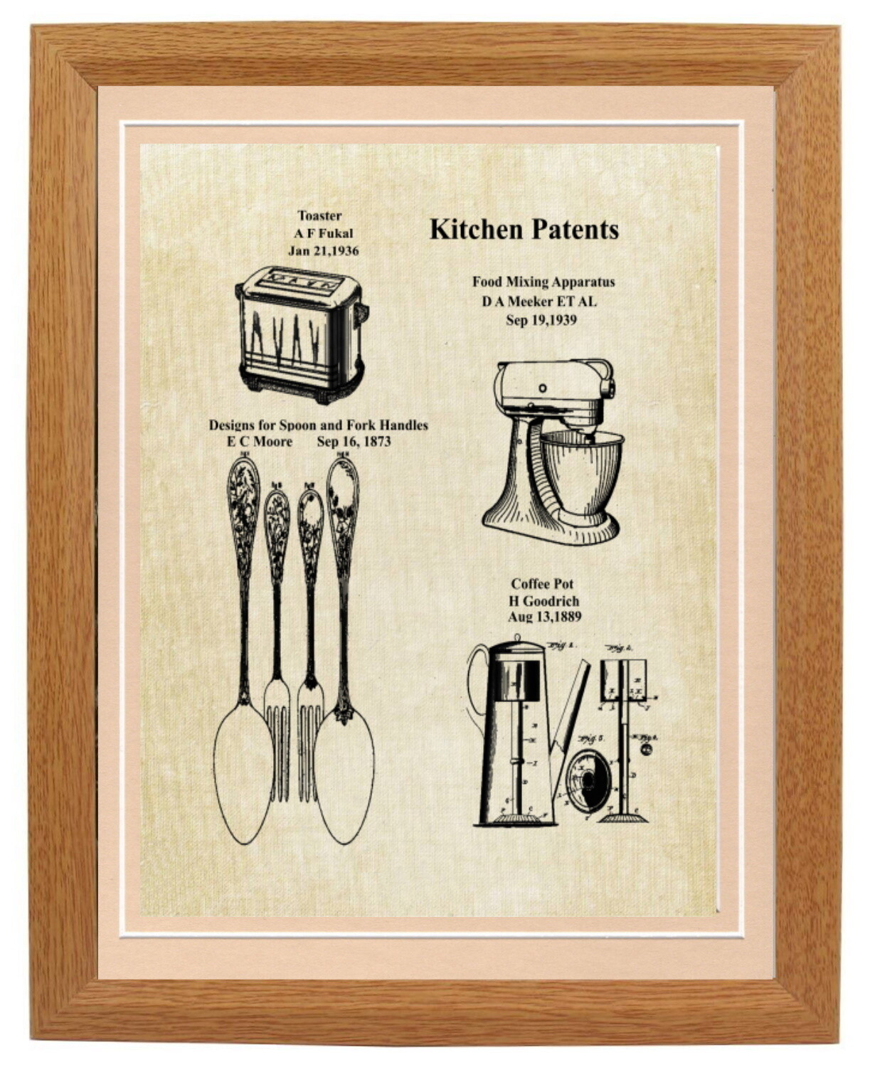 Kitchen Collage Patent Print - Framed Aged Linen Look