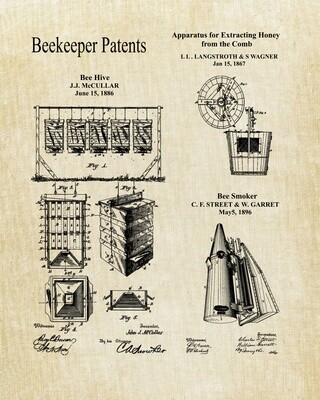 Beekeeper Collage Patent Print - Unframed 8x10 - Ready for  You to Frame