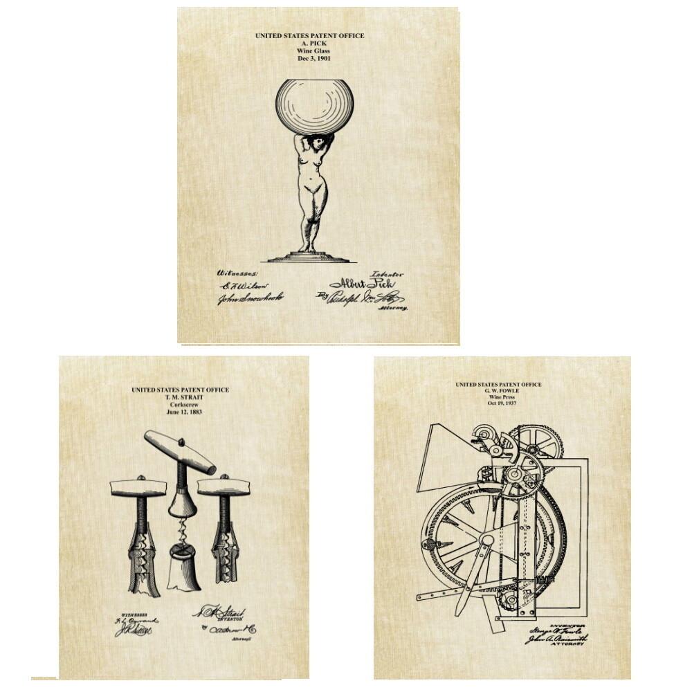 Wine Wall Decor Vintage Patent Prints - Corkscrew Wine Press Wine Glass