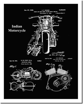 Indian Motorcycle Collage Patent Print - Black 8 1/2 x 11 Matted