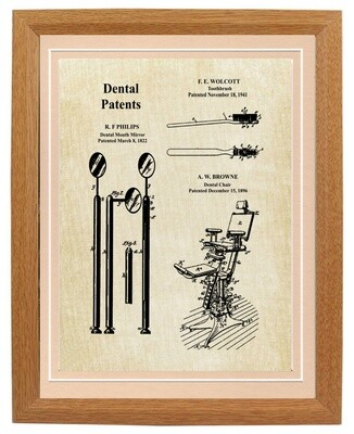 Dental Collage Patent Print Framed
