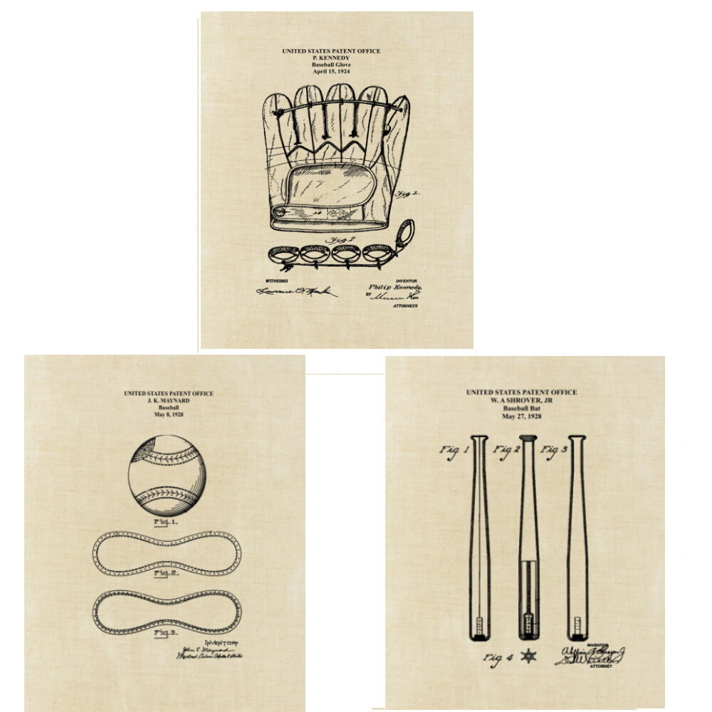 Baseball Patent Art Prints Three Unframed 8x10