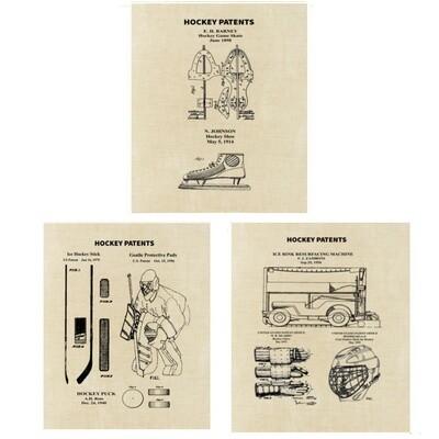 Ice Hockey Patent Art Prints Three Unframed 8x10